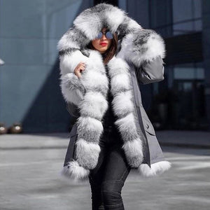 Women's casual hooded zipper padded faux fur coat