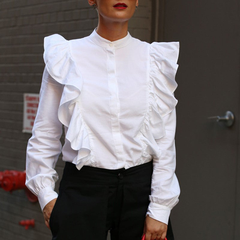 Women's Round Neck Panel Ruffled Pleated Solid Blouse