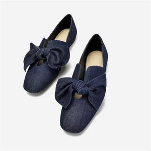 Women's bow square head flat shoes