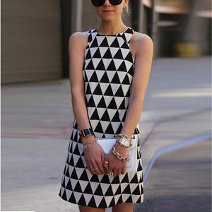 Round Neck  Geometric  Sleeveless Casual Dresses