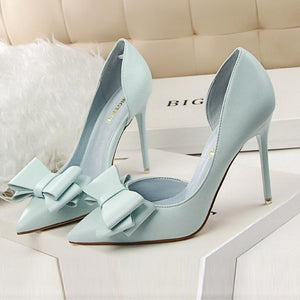 Sweet Bowknot Pointed Mouth High Heel Shoes