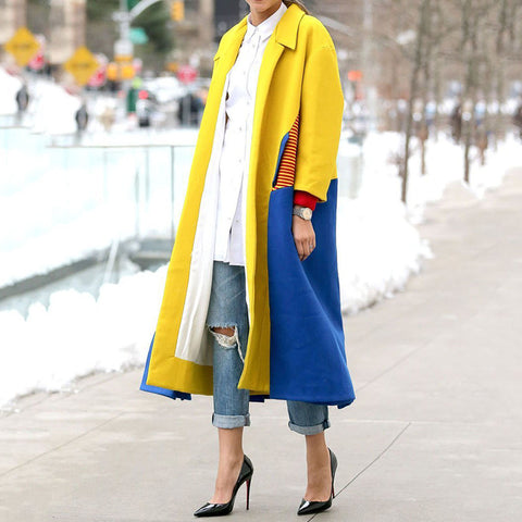 Casual Colorblock Long Woolen Coat