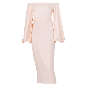 Women's Fashion Bishop Sleeve Pure Color Belted Resist Evening Dress
