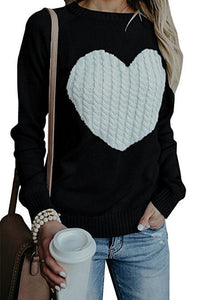With Love Round Neck  Color Block Sweaters