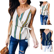 Sexy V Collar Stripes Chiffon Strap Shirt