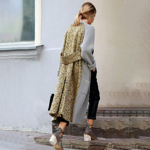 Casual Long Sleeve Patchwork Overcoat