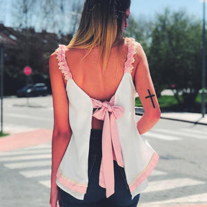 Sexy Lace Halter Bow Vest Top