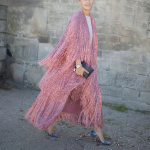 Heavy craft fringed shawl long coat