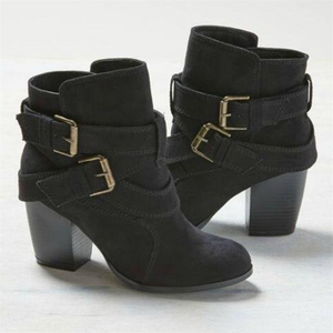 Women's fashion buckled high-heeled boots