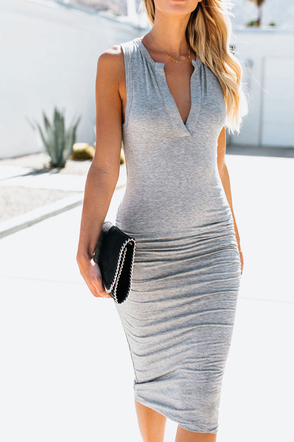 Ruched  Plain Bodycon Dresses