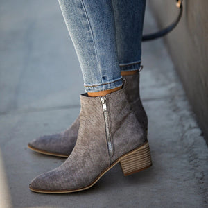 Women's casual pointed zipper boots