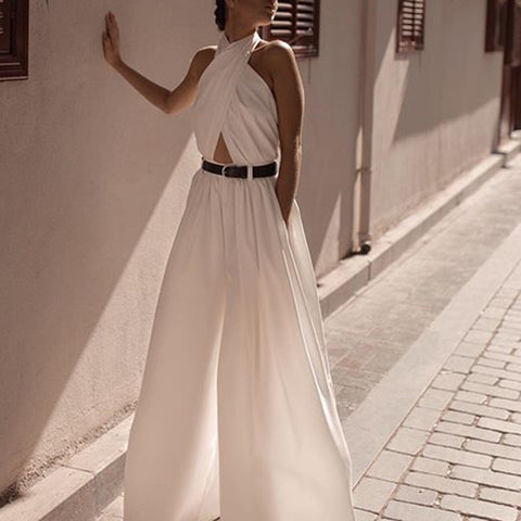 sexy bare back hanging collar white sleeveless jumpsuit