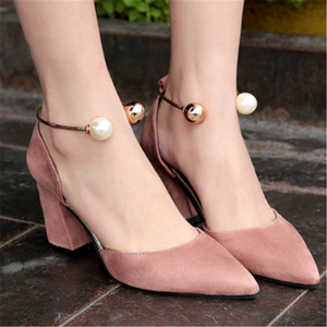 Pointy wild suede pearl high heels