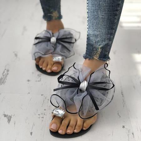 Women's Crystal Flower Lace Bow Flat Slippers