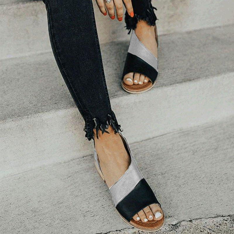 Women Flat Heel Patchwork Sandals