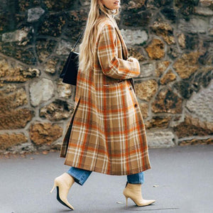 Fashion Turndown Collar Check Back Slit Long Overcoat