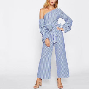 Sexy Off The Shoulder   Tights With Three-Tiered Sleeves Striped Jumpsuit