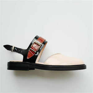 Fashion Blue Patchwork Buckle Flat Sanda