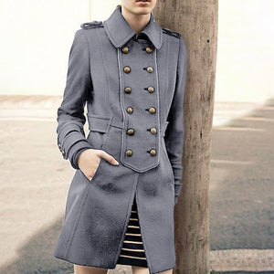 Women's Fashion Double-Breasted Turndown Collar Pure Color Jacket Coat