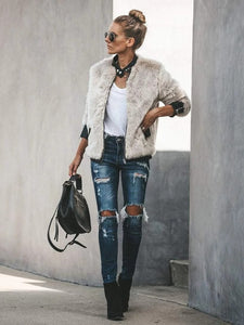 Short casual fur long sleeve jacket