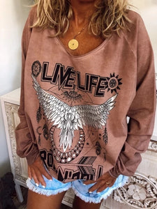 Women's Casual Round Neck Long Sleeve Printed Color T-Shirt