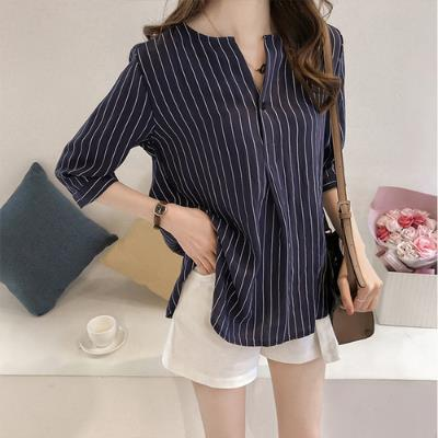 Womens Fashion Round Neck Striped Blouse Loose Casual Shirt