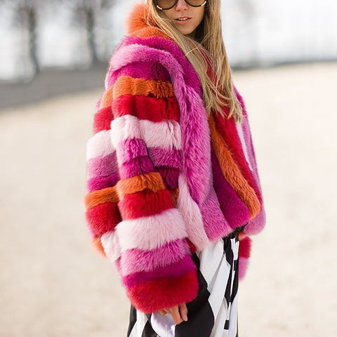 Fashion Spell color plush Overcoat