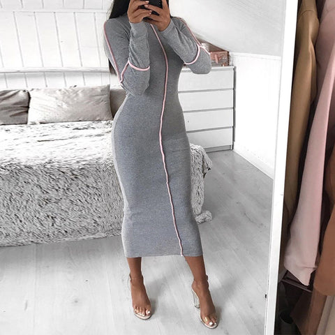Fashion Long Sleeve Contrast Stitch Bodycon Dress