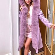 Ladies Fashion Stitching Furry Solid Color Coat