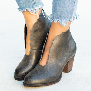 Women Simple Round Toe Mid Heel Ankle Boots
