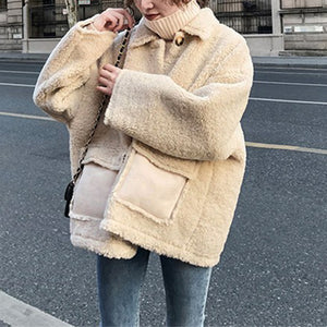 Sweet Lamb Cashmere Solid Color Thick Short Coat