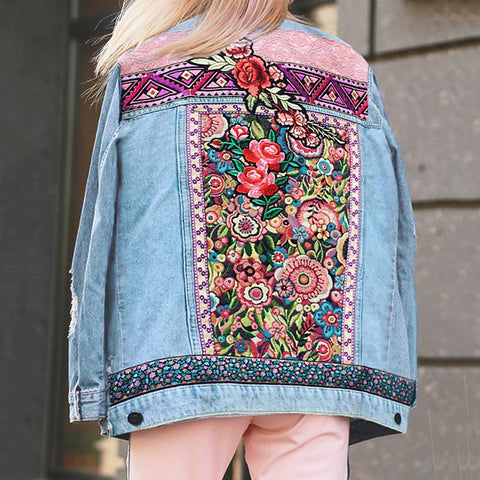 Women's Fashion Printed Color Long-Sleeved Denim Jacket