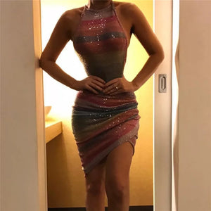 Sexy Color Stripst Halter Bodycon Dress
