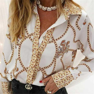 Fashion Elegant Printing Long-Lleeved Shirts