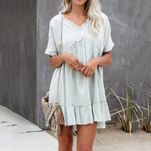 V-Neck Lace Loose Casual Dress
