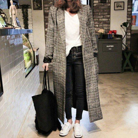 Lapel  Decorative Button  Houndstooth Plaid  Long Sleeve Coats
