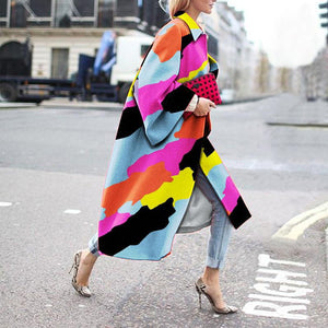 Printed Corrugated Long Woolen Coat