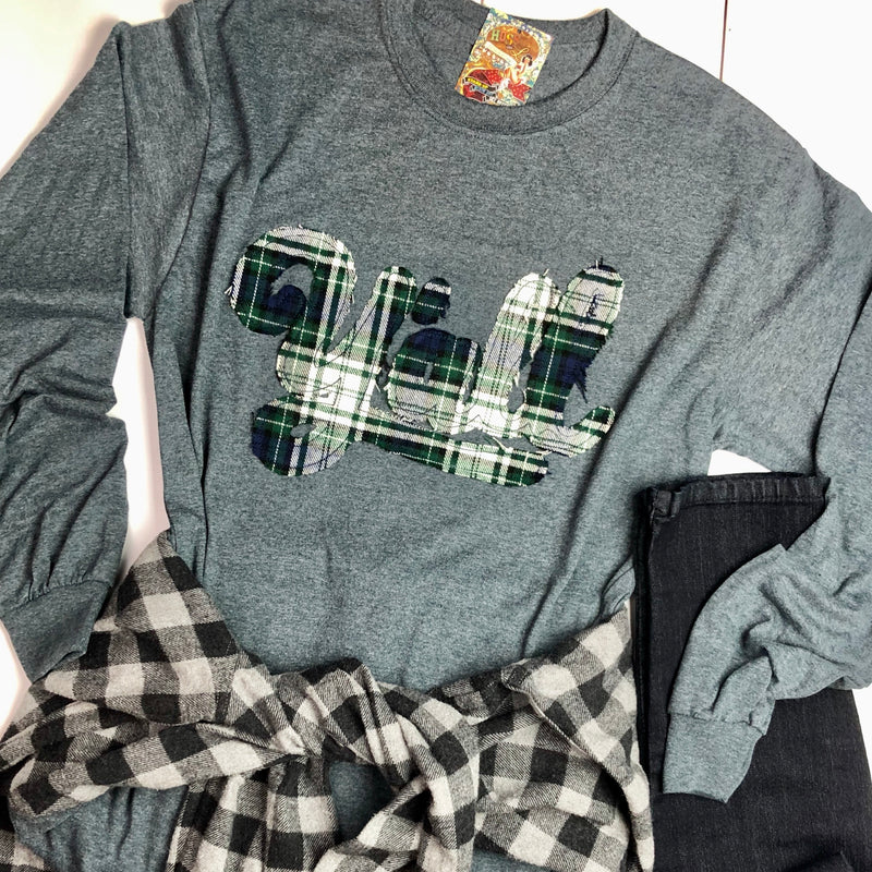 Raggy Grey Custom Y'all Plaid Tee