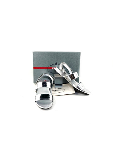 PRADA Silver Metallic Leather Slides