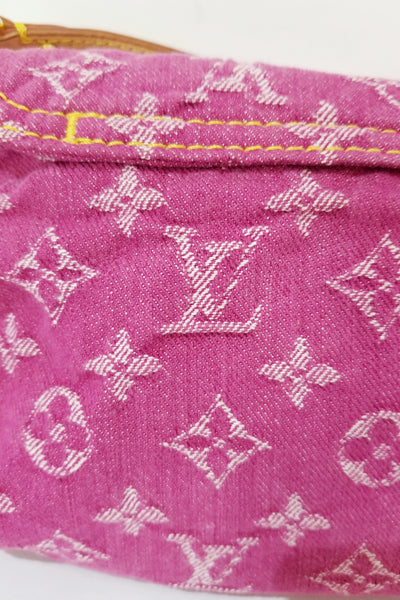LOUIS VUITTON Pink Denim Monogram Mini Pleaty Bag