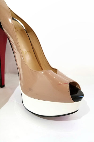 Christian Louboutin black white and nude patent leather platform slingbacks