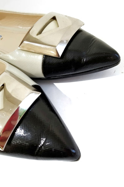 PRADA White/Black Grained Patent Leather Pointed Ballet Flats w/ SHW Buckle