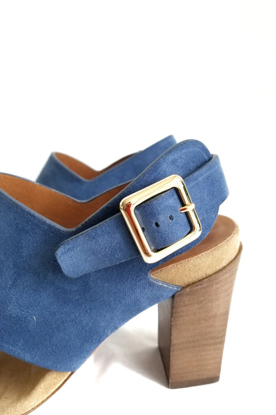 CHLOE Blue Suede Leather Slingback Sandals