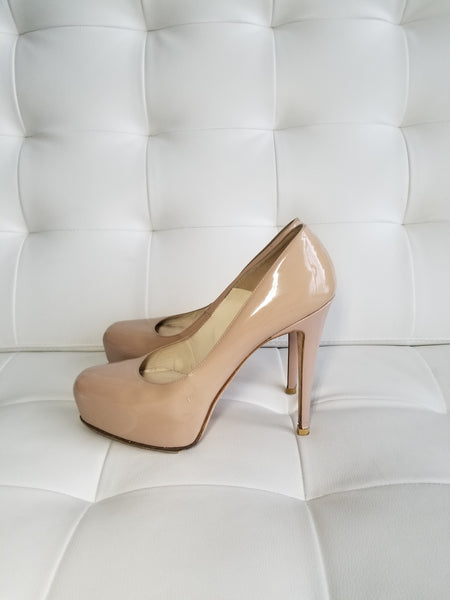 BRIAN ATWOOD Nude Patent Leather Platform Pumps