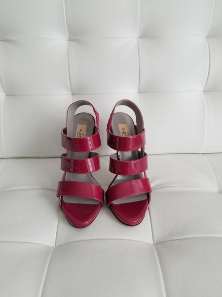 VALENTINO Magenta Patent Leather Strappy Sandals