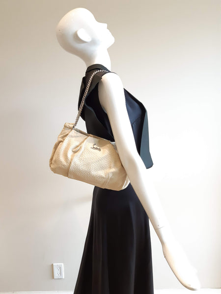 CHRISTIAN LOUBOUTIN Beige Grained Leather Small Bag W/SHW