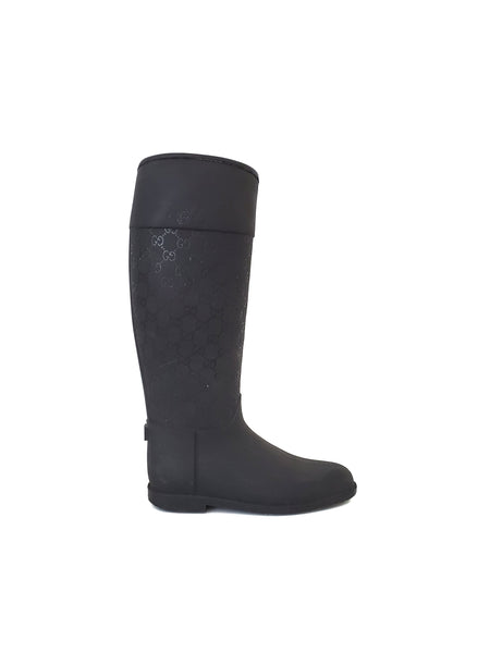 GUCCI Guccissima Black Matte Rubber Rainboots w/ Cushioned Lining