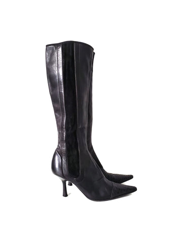 Chanel Black Leather Long Boots