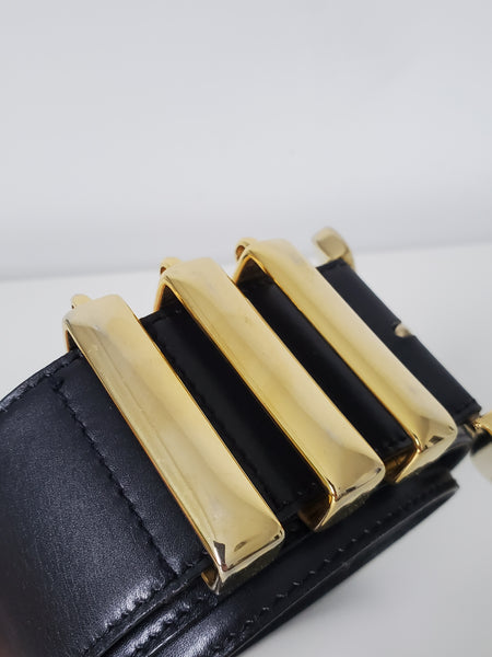 Escada Black Leather High Waist Belt GHW