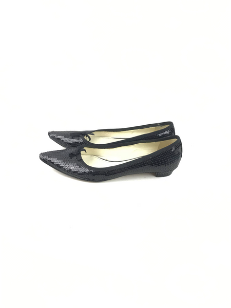 MIU MIU Black Sequin Pointed Toe Ballet Flats